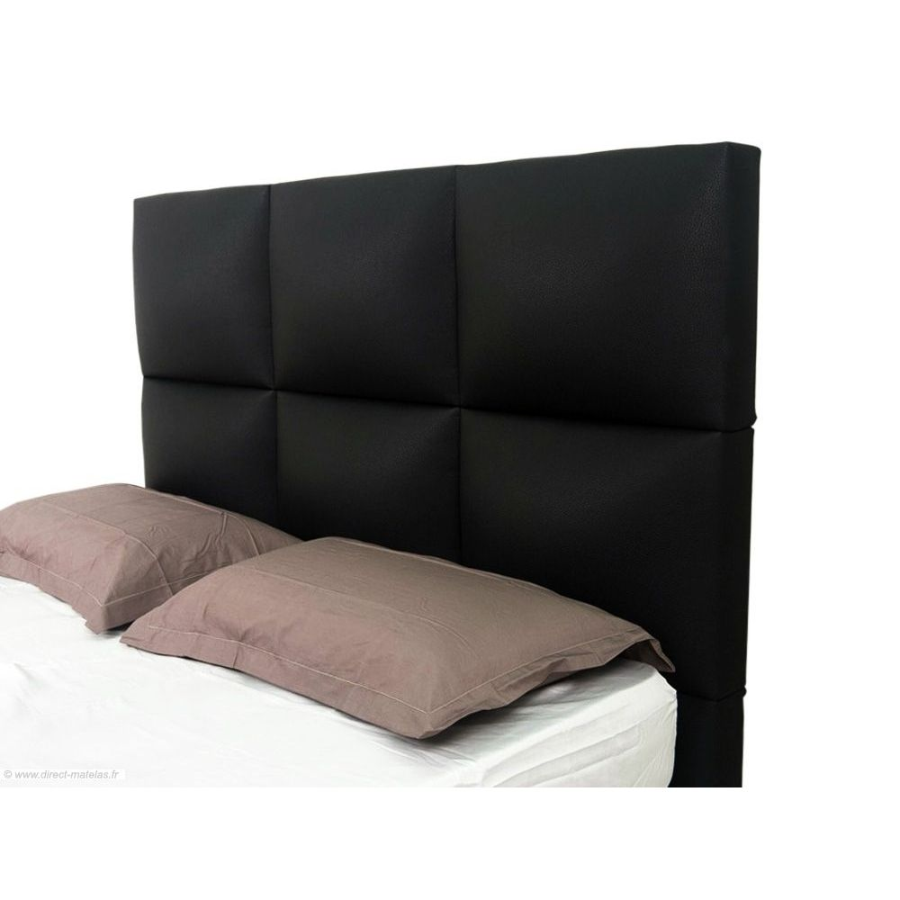 t te de lit grand carr noir d m 160. Black Bedroom Furniture Sets. Home Design Ideas