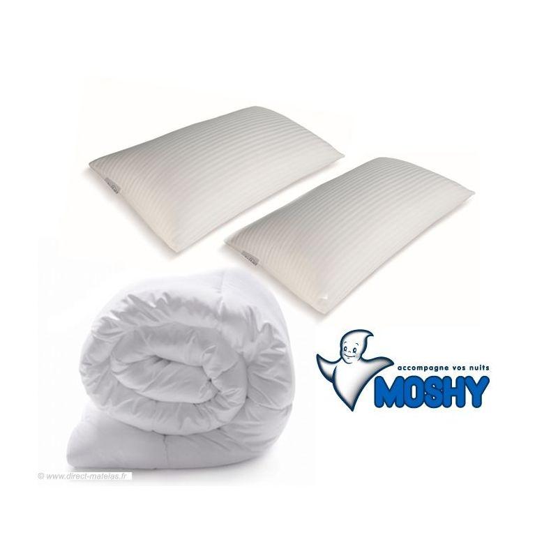 Pack Mémoire de forme MOSHY - couette 260x240 + 2 oreillers 70x40