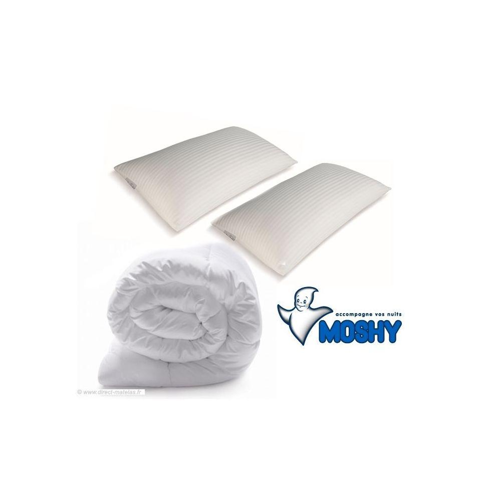 Pack m moire de forme moshy couette 260x240 2 oreillers 70x40 - Prix oreiller memoire de forme ...