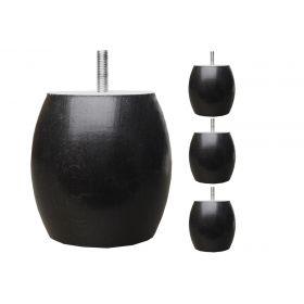 Pieds de lit Boule - Jeu de pieds Teinte Wengé Ø95 x h95 - x4