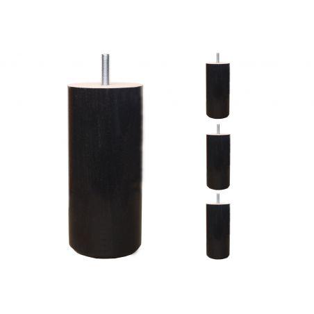 Pieds de lit Cylindriques - H. 15cm Ø7.5cm teinté Wengé