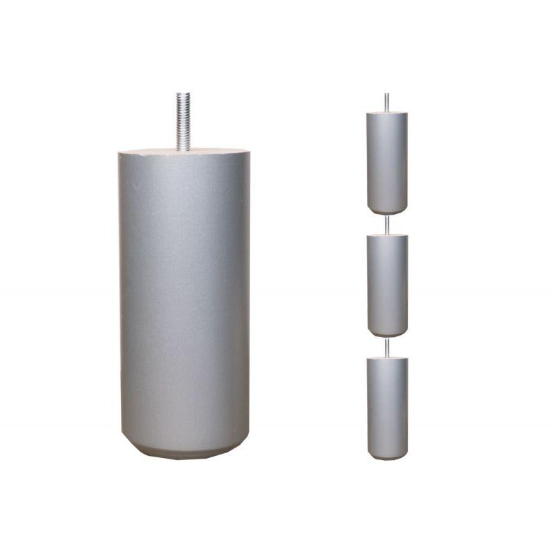 Pieds de lit Cylindriques - H. 15cm Ø7.5cm laqué argent