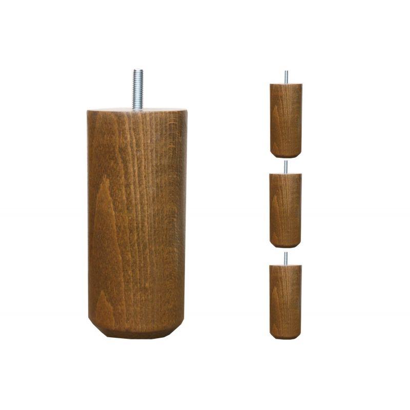 Pieds de lit Cylindriques - H. 15cm Ø7cm teinté chêne