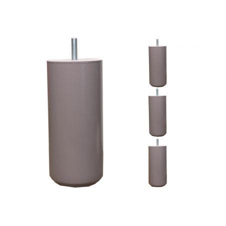Pieds de lit Cylindriques - H. 15cm Ø7cm teinté laqué taupe