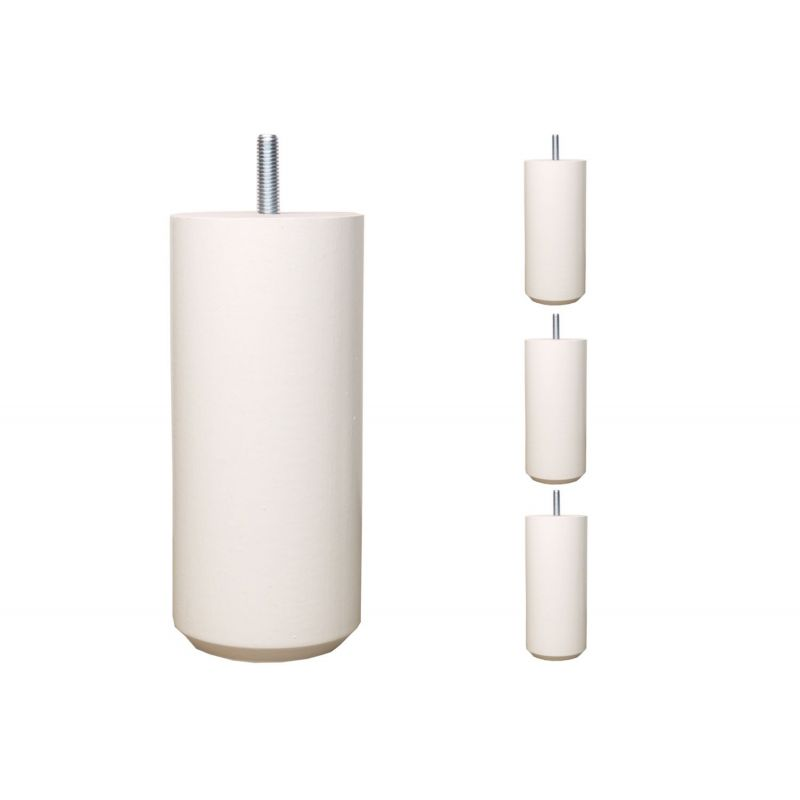 Pieds de lit Cylindriques - H. 20cm Ø7cm laqué blanc