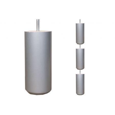 Pieds de lit Cylindriques - H. 20cm Ø7cm laqué argent
