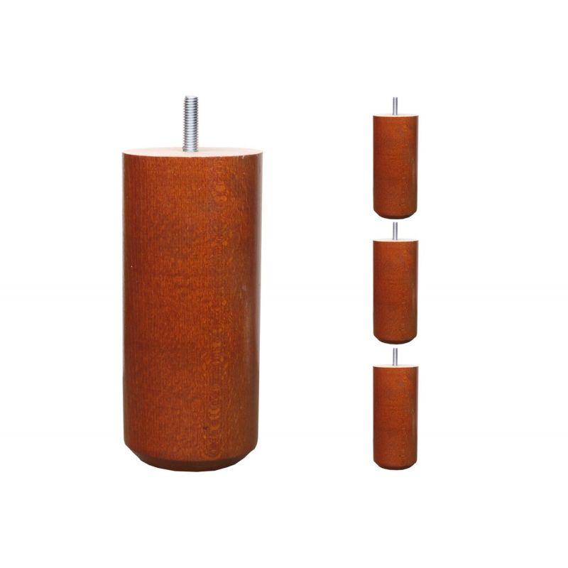 Pieds de lit Cylindriques - H. 25cm Ø7cm teinté merisier