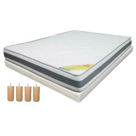 Pack 140x190 : Matelas DIRECT MATELAS REVFLEX + Sommier D.M. BONUS tapissier lattes + Pieds de lit Cylindriques