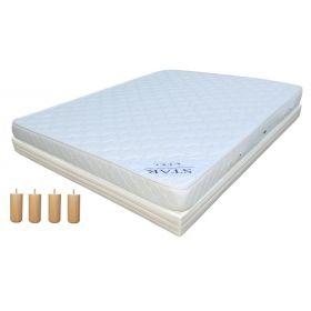 Pack 160x200 : Matelas DIRECT MATELAS STAR + Sommier D.M. BONUS tapissier lattes + Pieds de lit Cylindriques