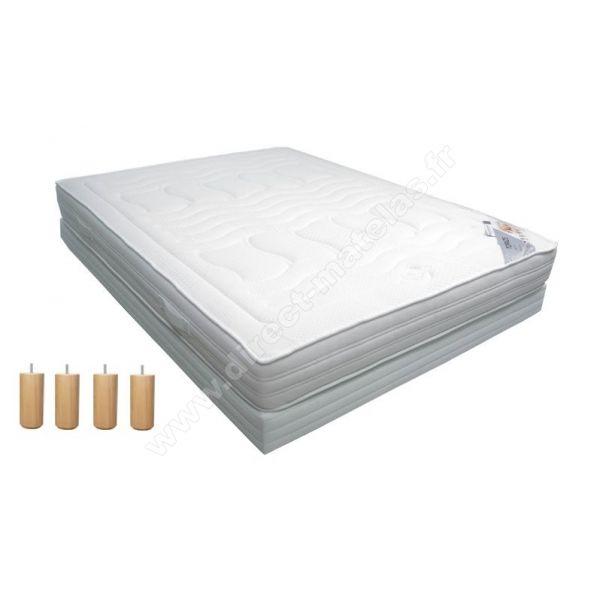 Pack 140x190 : Matelas DIRECT MATELAS TOPAZE + Sommier D.M. BONUS tapissier lattes + Pieds de lit Cylindriques