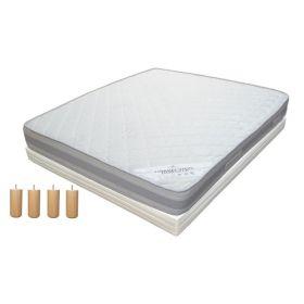 Pack 140x190 : Matelas DIRECT MATELAS CORRECTION DORSALE + Sommier D.M. BONUS tapissier lattes + Pieds de lit Cylindriques