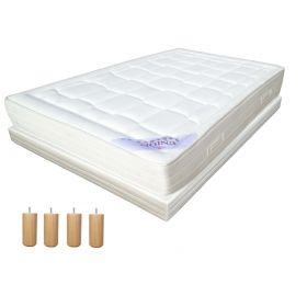 Pack 140x190 : Matelas DIRECT MATELAS UNION + Sommier D.M. BONUS tapissier lattes + Pieds de lit Cylindriques