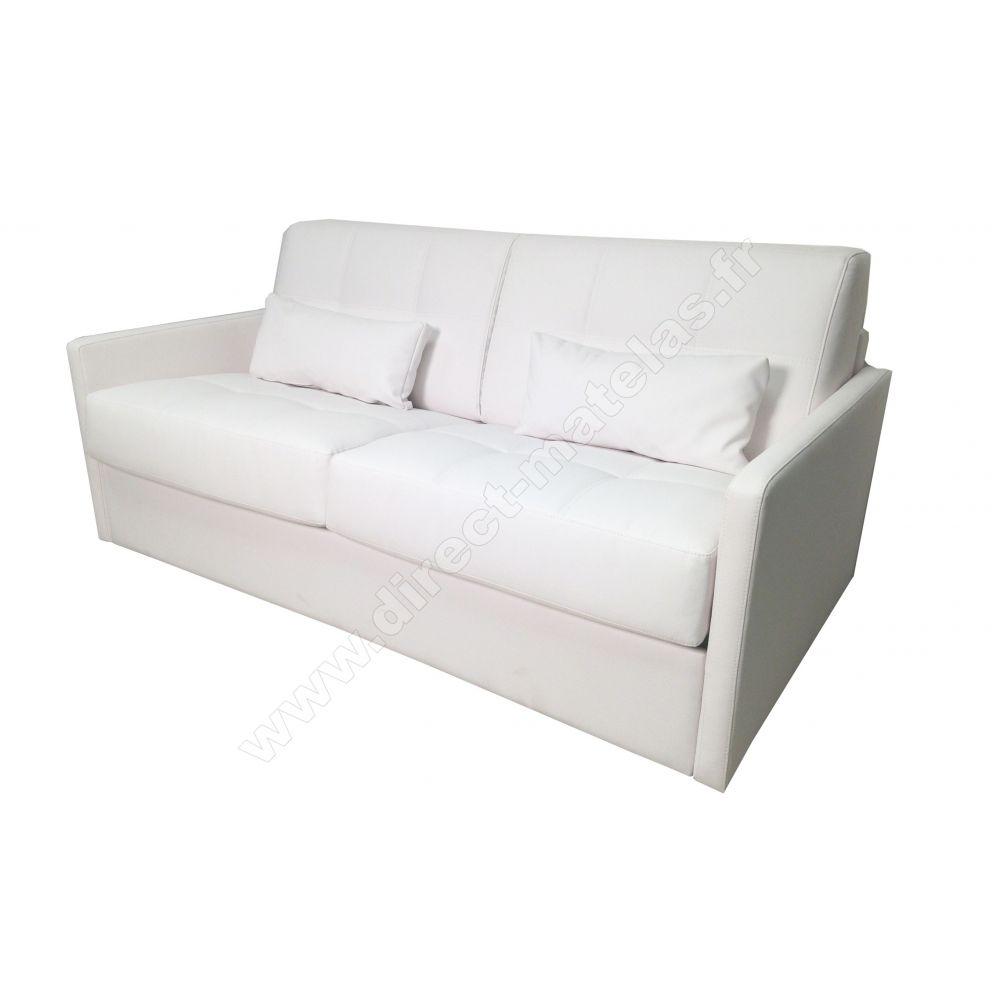 canapé convertible d.m. lucky cuir régénéré blanc - couchage 140x190