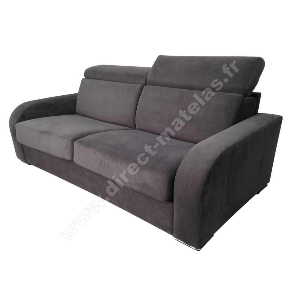 canap convertible d m lucas tissu gris anthracite couchage 140x190. Black Bedroom Furniture Sets. Home Design Ideas
