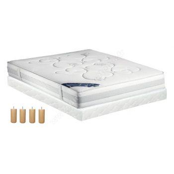 Pack 160x200 : Matelas DUNLOPILLO POMME + Sommier D.M. SELUX tapissier lattes + Pieds de lit Cylindriques