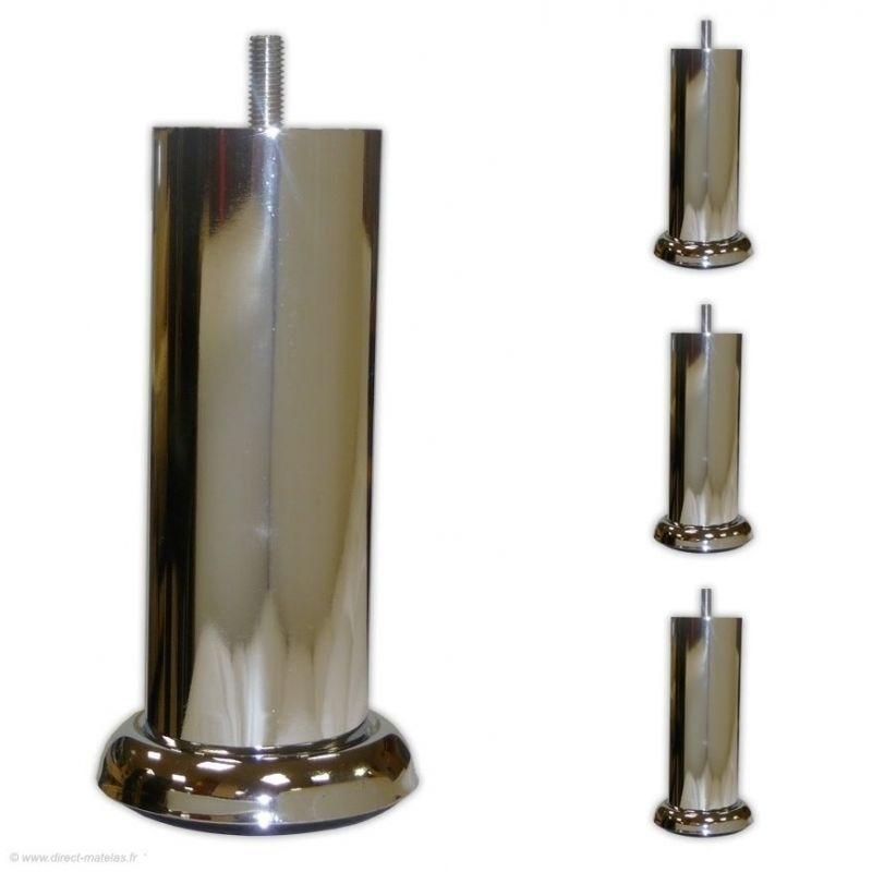 Pieds de Lit Cylindrique - H.15cm Chromé