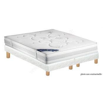 Pack 180x200 : Matelas DUNLOPILLO POMME + 2 Sommiers D.M. SELUX tapissier lattes + Pieds de lit Cylindriques