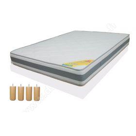 Pack 160x200 : Matelas DIRECT MATELAS REVFLEX + Sommier D.M. SELUX Tapissier lattes + Pieds de lit Cylindriques