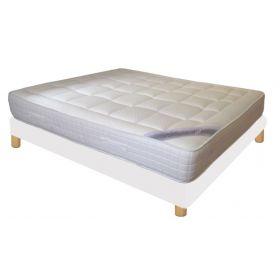 Pack 140x190 : Matelas DIRECT MATELAS UNION + Sommier D.M. SELUX  tapissier lattes + Pieds de lit Cylindriques