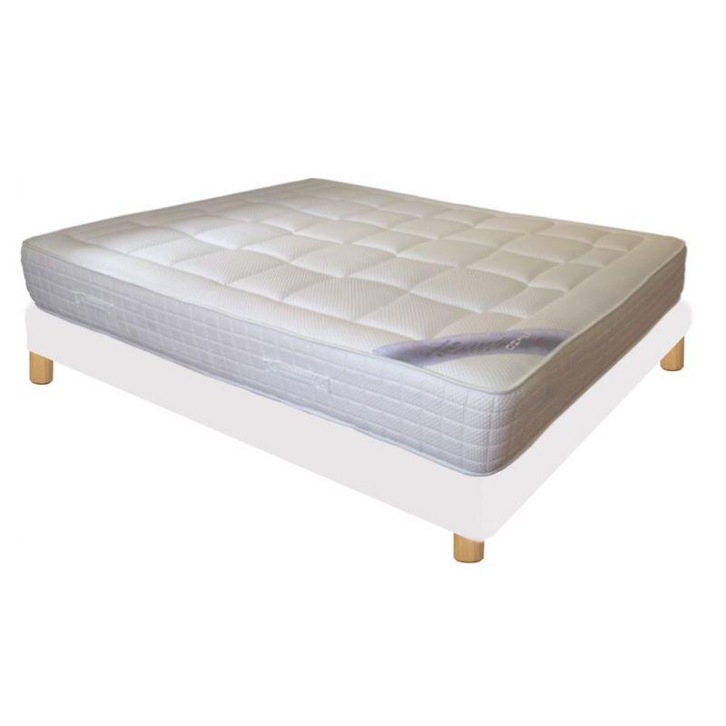 Pack 160x200 : Matelas DIRECT MATELAS UNION + Sommier D.M. BONUS tapissier lattes + Pieds de lit Cylindriques