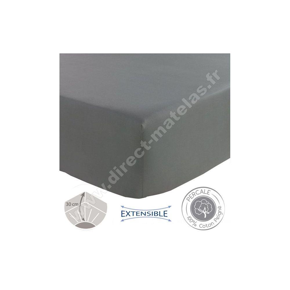 drap housse sp cial grande paisseur tradilinge anthracite 160x200. Black Bedroom Furniture Sets. Home Design Ideas