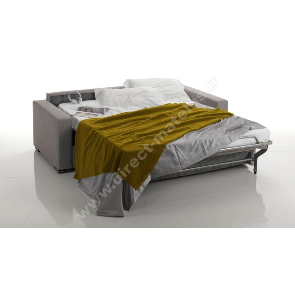 canap convertible d m leo couchage 140x190 tissu gris fonc. Black Bedroom Furniture Sets. Home Design Ideas