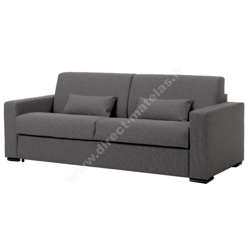 canap convertible d m leo couchage 140x190 tissu gris fonc. Black Bedroom Furniture Sets. Home Design Ideas