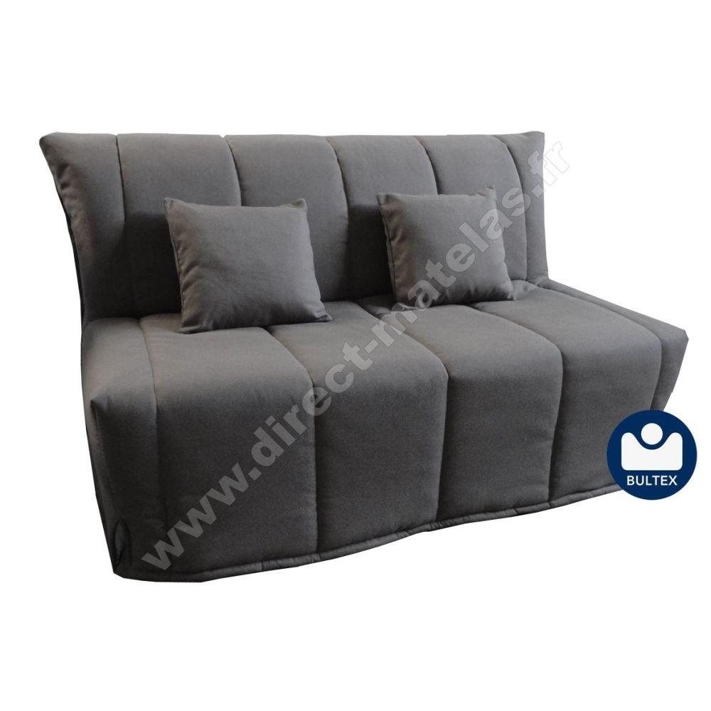 bz flore couchage 140 tissu gris anthracite. Black Bedroom Furniture Sets. Home Design Ideas