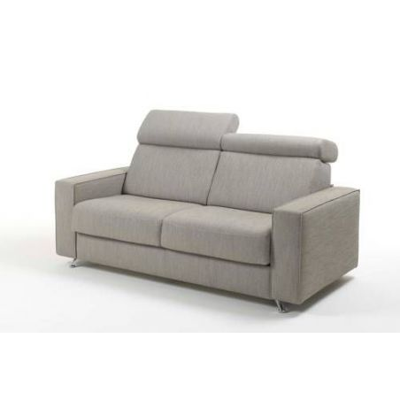 Canapé convertible D.M. AMBRO Tissu chiné taupe - Couchage 140x190