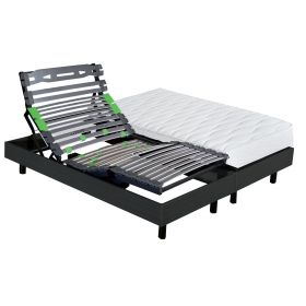 Pack 2x80x200 : Matelas EPEDA A Ressorts ensachés + Sommier ETERNEL DM Palissandre + Pieds Cylindriques