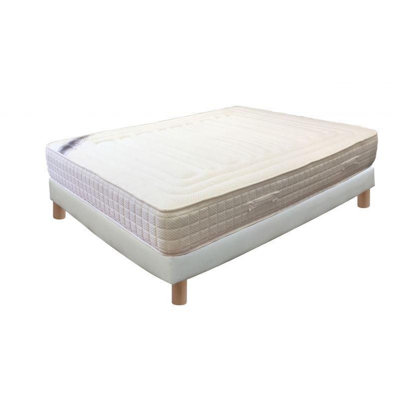 Pack 80x200 : Matelas TOPFERM + Sommier D.M. SOLUX tapissier lattes + Pieds de lit Cylindriques