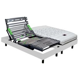 Pack 2x80x200 : Matelas DUNLOPILLO 100% latex 3 zones + Sommier ETERNEL DM Blanc + Pieds Cylindriques