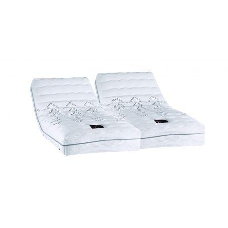 Pack 2x80x200 : Matelas DUNLOPILLO MULTIZONES 100% latex + Sommier ETERNEL DM Blanc + Pieds Cylindriques