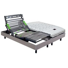 Pack 2x80x200 : Matelas PIRELLI PHYSIAL B 100% latex + Sommier ETERNEL DM Palissandre + Pieds Cylindriques