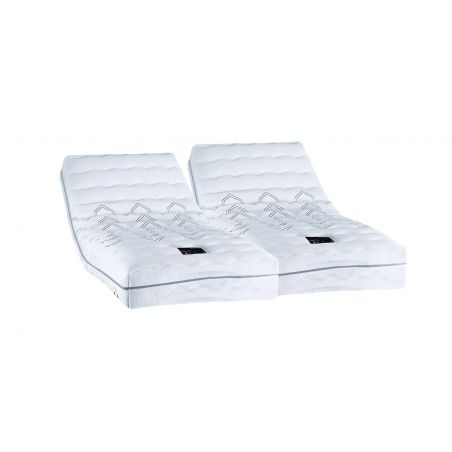 Pack 2x80x200 : Matelas PIRELLI PHYSIAL B 100% latex + Sommier ETERNEL DM Cendré + Pieds Cylindriques