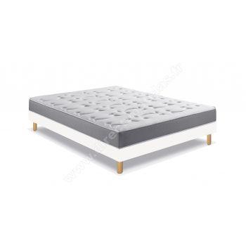 Pack 180x200 : Matelas DUNLOPILLO AERIAL LP21 + Sommier D.M. SOLUX tapissier lattes + Pieds de lit Cylindriques