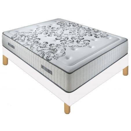 Pack 140X190 : Matelas DM QUEEN + Sommier D.M. SOLUX tapissier lattes + Pieds de lit Cylindriques
