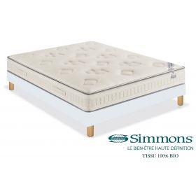 Pack 140x190 : Matelas SIMMONS MILLESIME 2019 BIO  + Sommier D.M. SOLUX Tapissier lattes + Pieds de lit Cylindriques