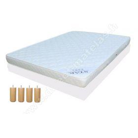 Pack 140x200 : Matelas DIRECT MATELAS STAR + Sommier D.M. SOLUX tapissier lattes + Pieds de lit Cylindriques