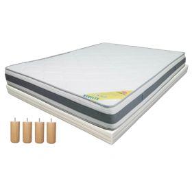 Pack 90x190 : Matelas DIRECT MATELAS REVFLEX + Sommier D.M. BONUS tapissier lattes + Pieds de lit Cylindriques