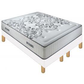 Pack 180X200 : Matelas DM QUEEN + Sommier D.M. SOLUX tapissier lattes + Pieds de lit Cylindriques