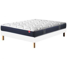 Pack 140x190 : Matelas EPEDA MULTISPIRES MULTIZONES - 140x190 + Sommier SOLUX + Pieds de lit Cylindriques
