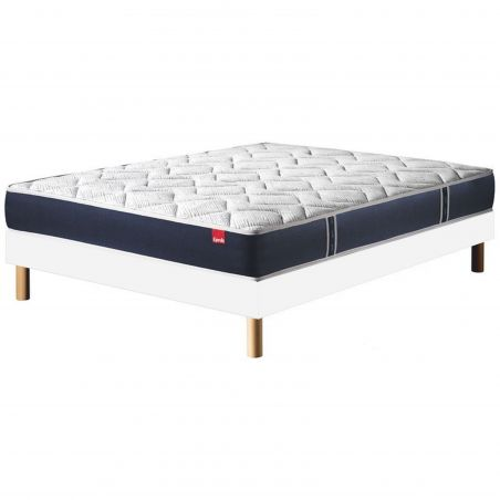 Pack 140x190 : Matelas EPEDA MULTISPIRES MULTIZONES - 140x190 + Sommier EPEDA OUATINE FERME + Pieds de lit Cylindriques