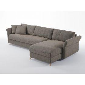 Canapé Convertible D.M. BOHEME MERIDIENNE Couchage 140x190 - Tissu chiné taupe